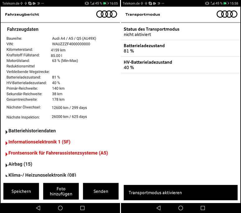 CAR ASYST App - Fahrzeugbericht, Transportmodus